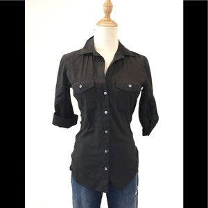 James Perse Black Button Front Shirt NEW NWT